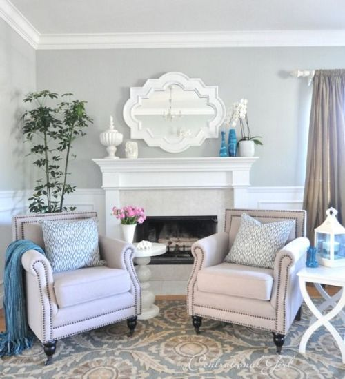 classic grey, blue and white living room