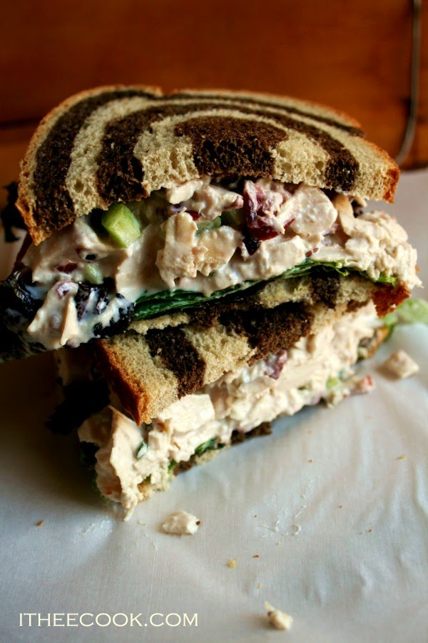 Cranberry Turkey Salad, a great way to use up leftover turkey, creamy and studded with cranberries.