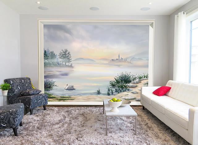 décoration salon en gris, poster géant paysage scandinave