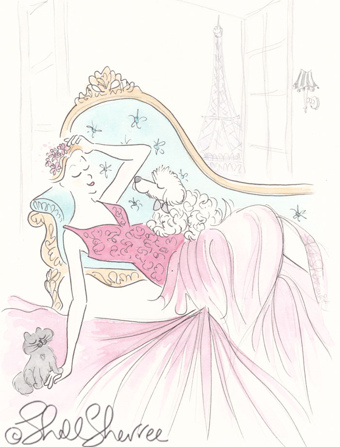 Fashion and fluffballs illustration: Red Gown, Mint Sofa with Eiffel Tower View © Shell Sherree