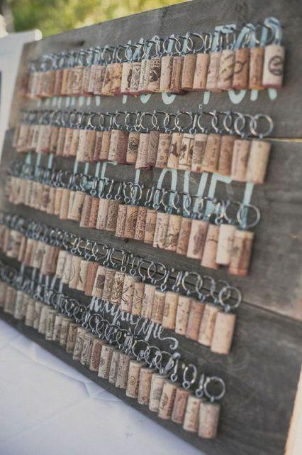 décoration mariage thème vin cadeau porte-clés bouchon liège