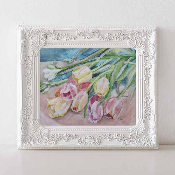 """Cascading Tulips"", 9 x 12- www.gildedbloom.com"
