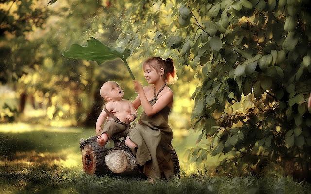 bambini, natura, foglie,