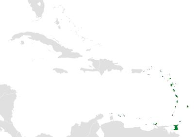 Localisation des petites Antilles sur carte des Caraibes