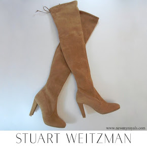 Meghan Markle wore Stuart Weitzman Camel Toffee Beige Highland Stretch Over the Knee Boots
