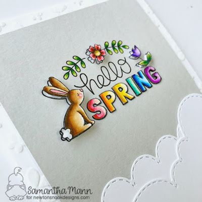 Hello Spring Card by Samantha Mann for Newton's Nook Designs, Zig Clean Color Real Brush Markers, Spring, Cards, Handmade Cards, #newtonsnook #zigmarkers #cards #spring