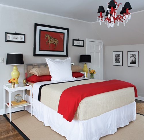 The design pages the perfect grey for Black and white with a pops of color bedroom ideas