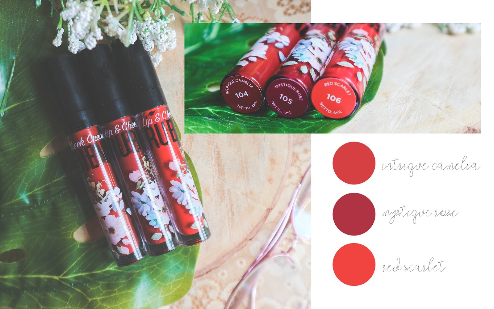 rubiena lip & cheek cream swatches & review lipstik warna merah
