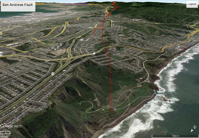 The fault has triggered many landslides here