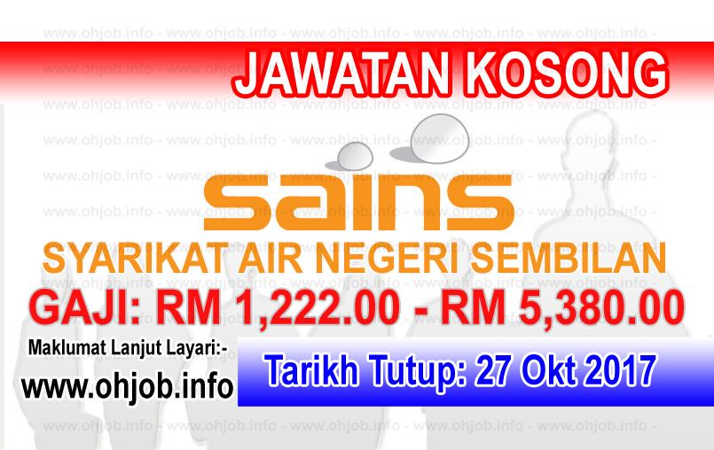 Jawatan Kerja Kosong SAINS - Syarikat Air Negeri Sembilan logo www.ohjob.info oktober 2017