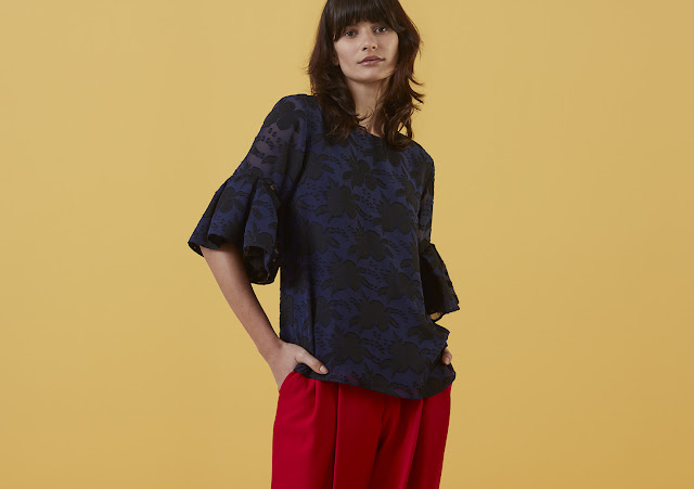 Finery Arliss Burnout Frill Sleeve Top