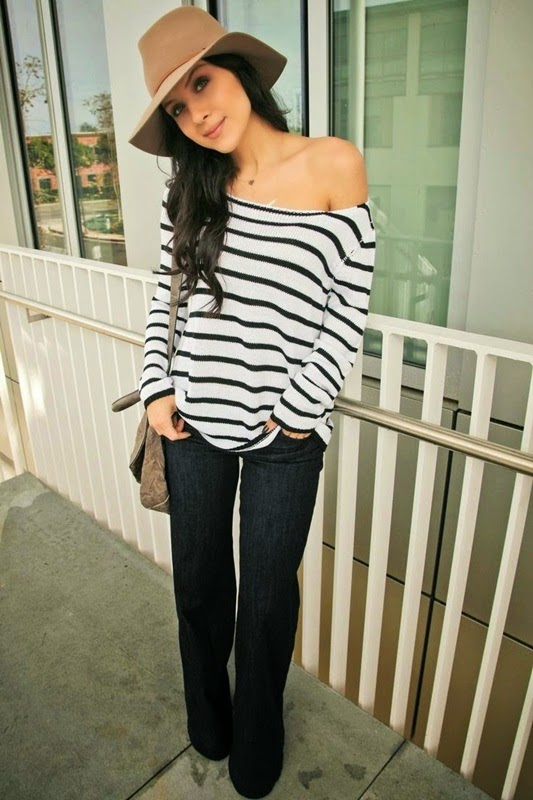 Wearing a Flare Jeans with Striped Top and Camel Hat for Trendy Spring Summer Style