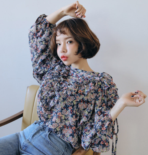 Self-Tie Cuff Frilled Floral Blouse
