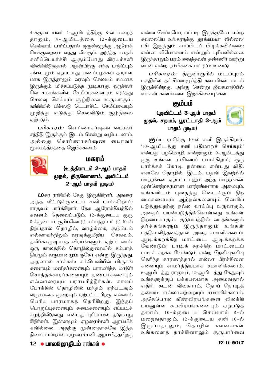 Weekly Tamil Rasipalan - Balajothidam