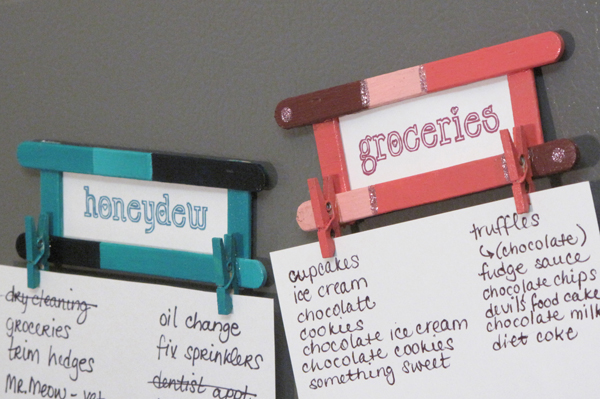 DIY fridge magnets from popsicle sticks, craft tutorial how to