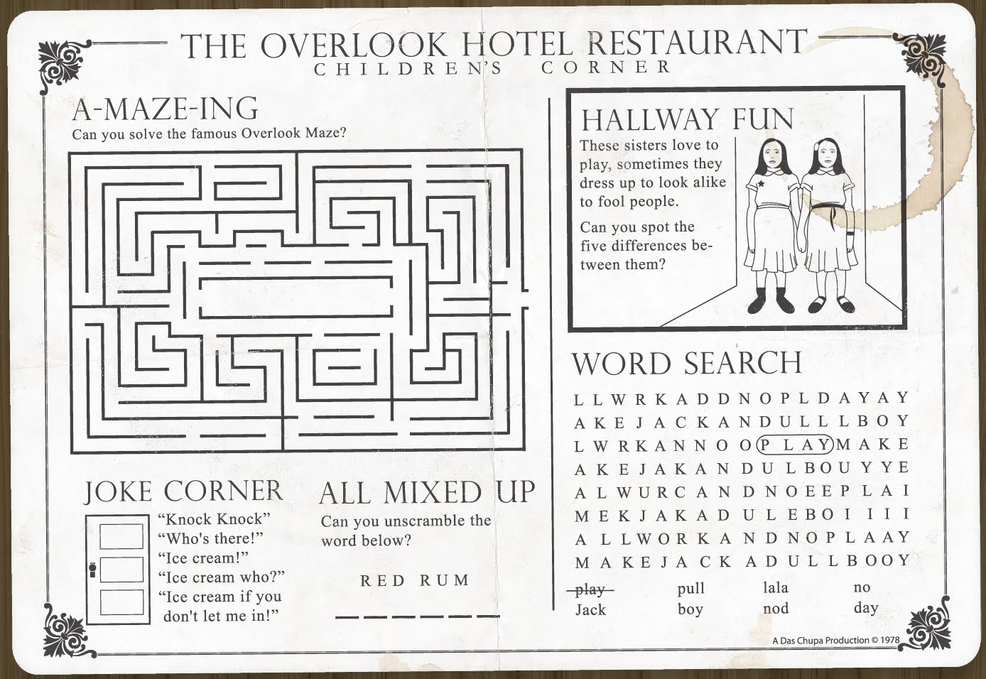 the overlook hotel kids placemat vagabondish