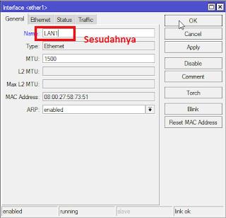 ganti nama interface mikrotik menjadi LAN1