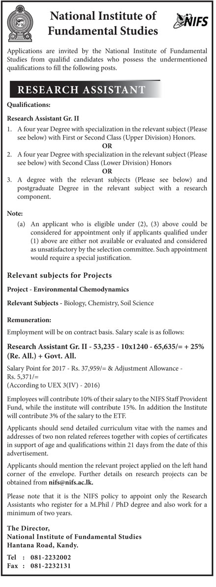 Sri Lankan Government Job Vacancies at National Institute of Fundamental Studies for Research Assistant