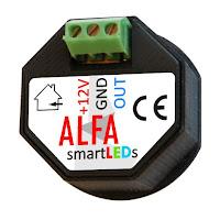 Schodowy czujnik optyczny odbiciowy odległości i ruchu ALFA smartLEDs - wyprowadzenia z tyłu czujnika