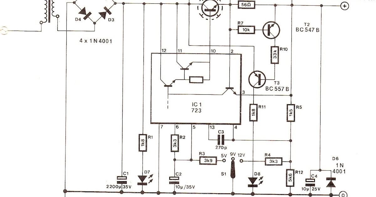 Schematic Diagram: IC 723 Power Supply Circuit with