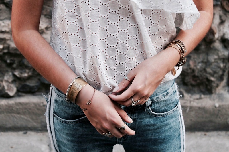 jewels blue jean lace top fashion blog