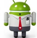 Android boy wearing tie and uniform