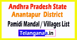 Pamidi Mandal Villages Codes Anantapur District Andhra Pradesh State India