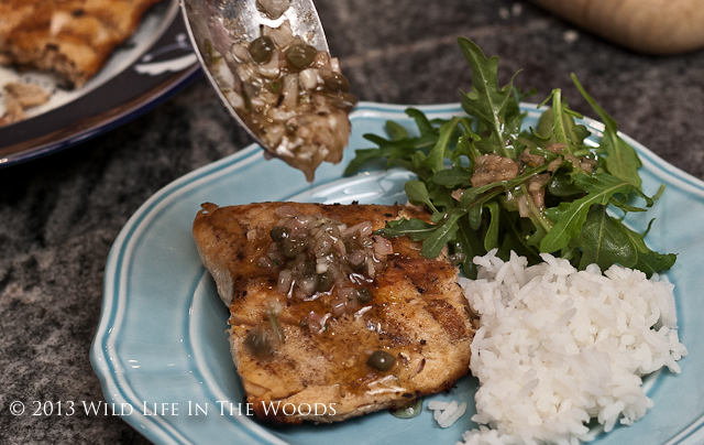 Grilled Trout Recipe with Browned Butter, Caper and Pine Nut Sauce