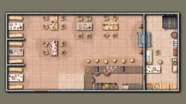 Mapa de uma taverna ou casa.