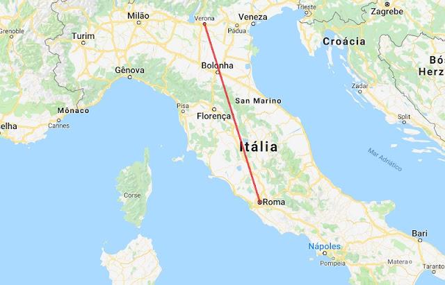 Mapa da viagem de Verona a Roma