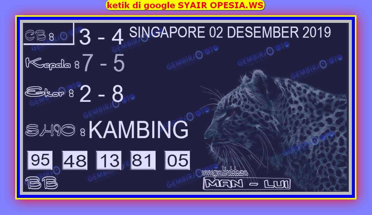 Kode syair Singapore Senin 2 Desember 2019 123