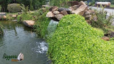 Pedra moledo para execução de paisagismo na cascata de pedra no lago.