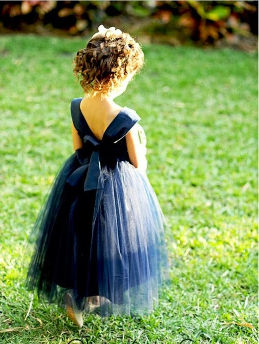 wedding flower girl ideas navy dress with straps