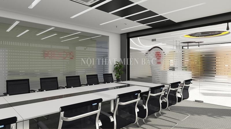 Thiết kế nội thất phòng họp đẹp thoáng đãng với vách kính