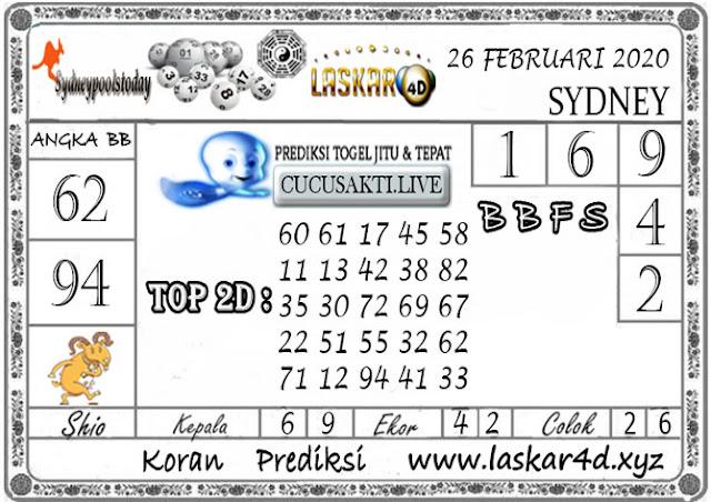 Prediksi Togel SYDNEY LASKAR4D 26 FEBRUARI 2020
