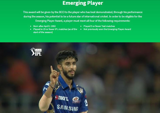 VOTE! Emerging Player Award VIVO IPL 2018 - Criteria, Winner, Players List