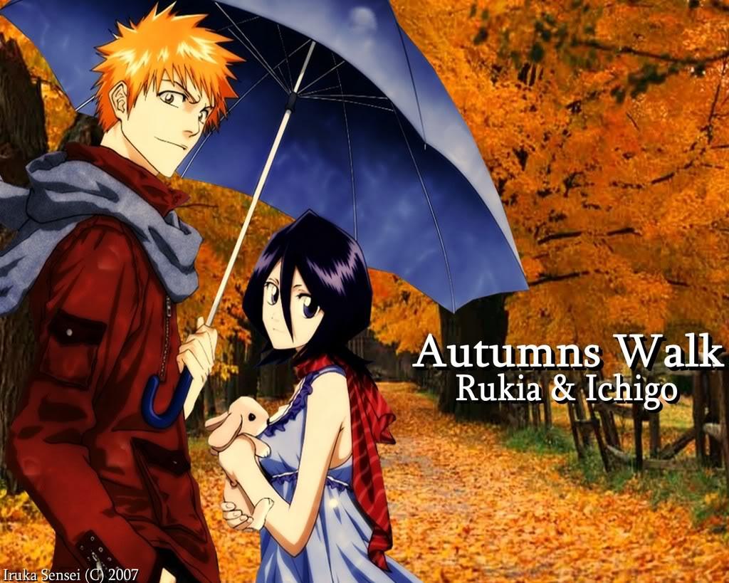 Bleach Wallpapers Ichigo And Rukia Autumns Walk Under