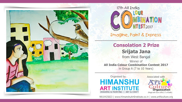 Consolation 2 Prize Winner Srijata Jana from West Bangal in All India National Level Painting Competition for Kids