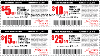 free Hancock Fabrics coupons february 2017