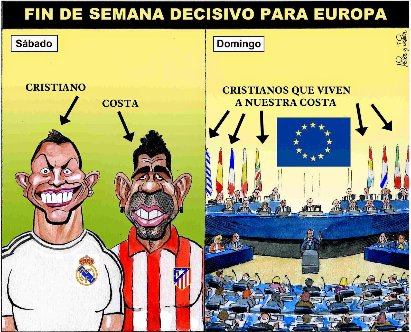 Viñeta humor Champions League-Elecciones europeas por Asier y Javier