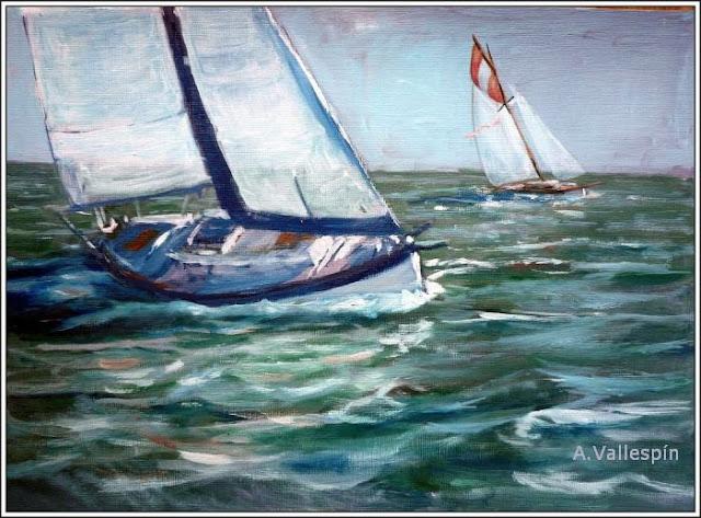 Pintura al óleo de dos veleros navegando sin rumbo