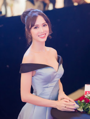 Vu Ngoc Anh  Glamour beauty in silver-gray dresses