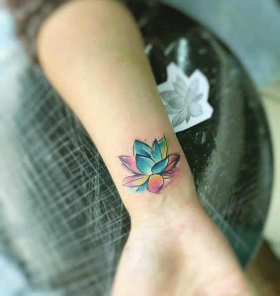 Top 75 most beautiful tattoos for girls with meanings one of the most beautiful colorful lotus flower tattoo design for girls mightylinksfo