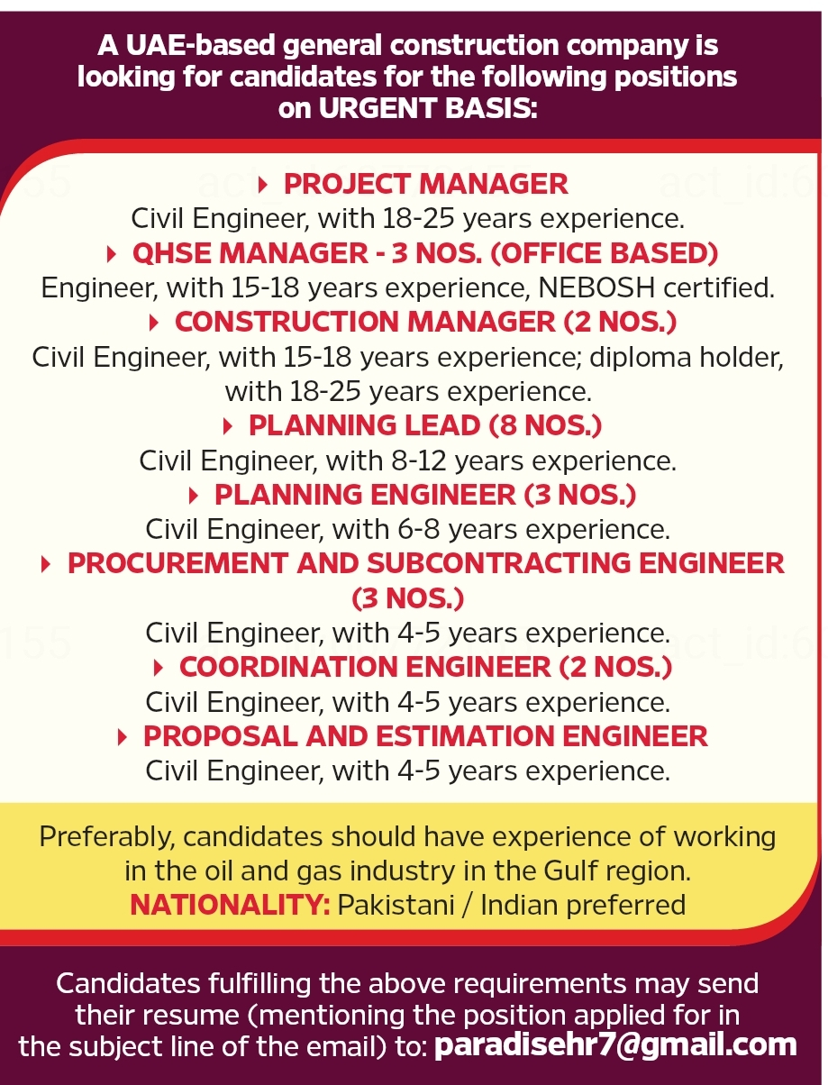 A UAE Based General Construction Company is Looking for Candidates