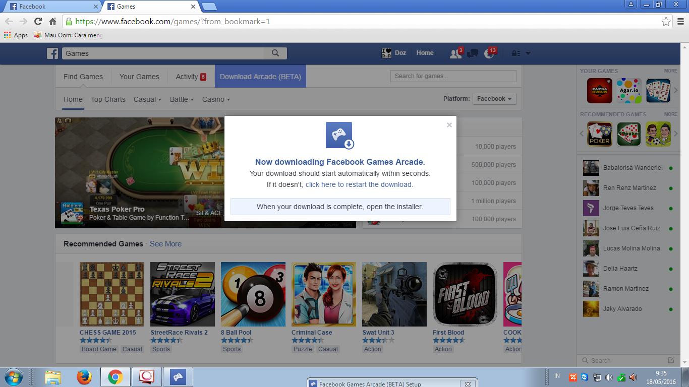 Скачать facebook arcade.