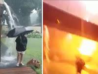 Bermain Payung Saat Hujan, Bocah Ini Langsung Disambar Petir