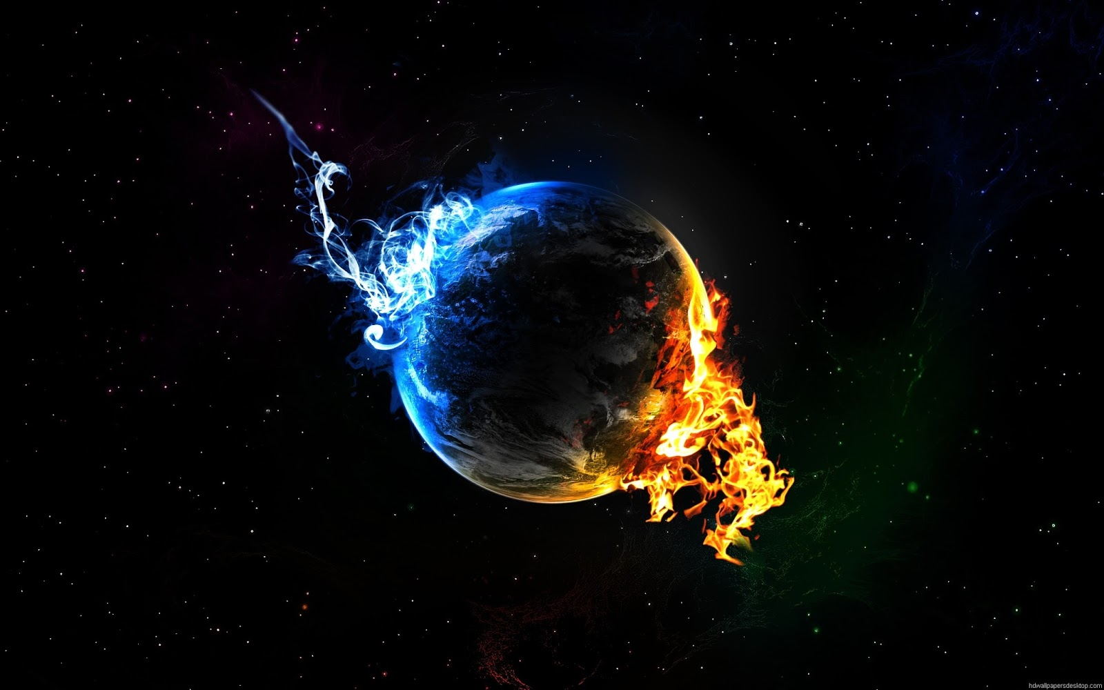 Earth Fire And Ice Wallpaper Background Galaxy Wallpaper