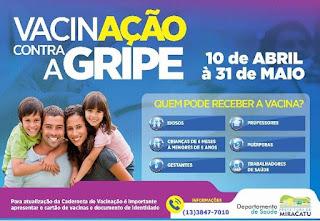 Campanha de vacinação contra gripe em Miracatu