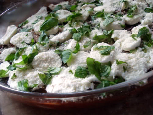 Spread 1/3 of the tomato sauce in the oven proof dish, layer half of the eggplant, half of the mozzarella cheese slices