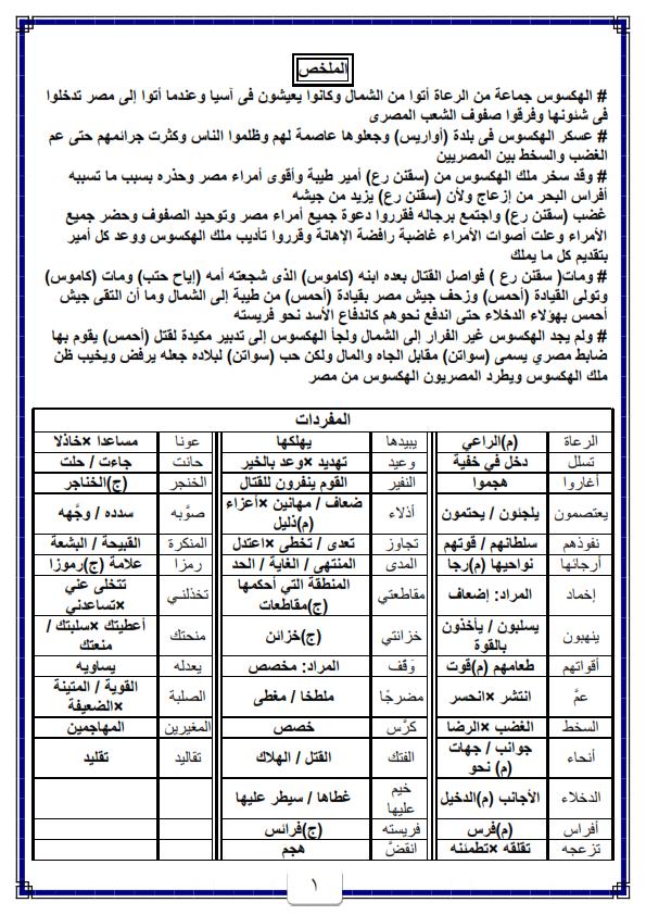 مراجعه قصه كفاح شعب مصر للثاني الاعدادي ترم اول 20 ورقة